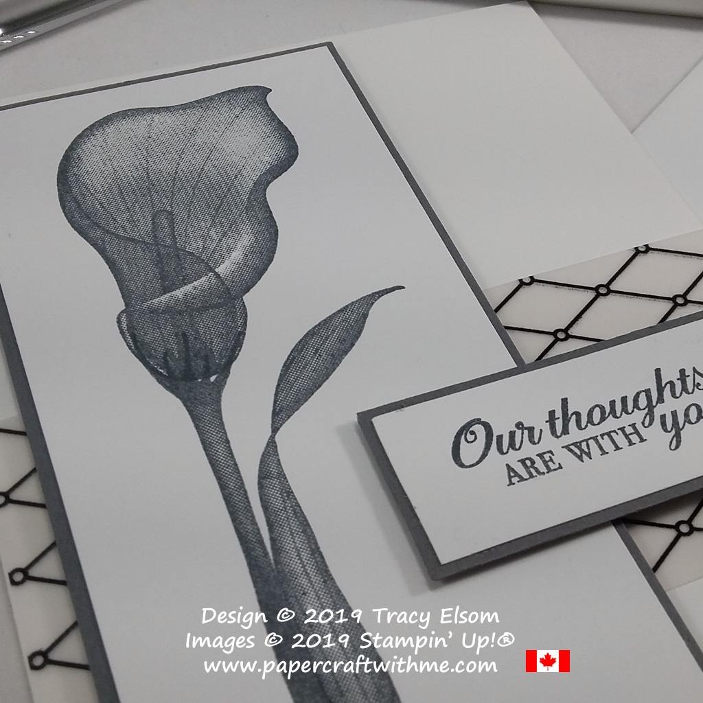 Close up of simple sympathy card with Our Thoughts are With You sentiment and arum lily image from the Lasting Lily Stamp Set from Stampin' Up!