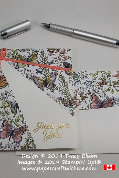 This just for you card features a host of butterflies and foliage in a split layer design created using the Meant To Be Stamp Set and coordinating Be Mine Stitched Framelits. The butterfly paper is available free when you order the stamp set and die bundle from Stampin' Up by March 31st.