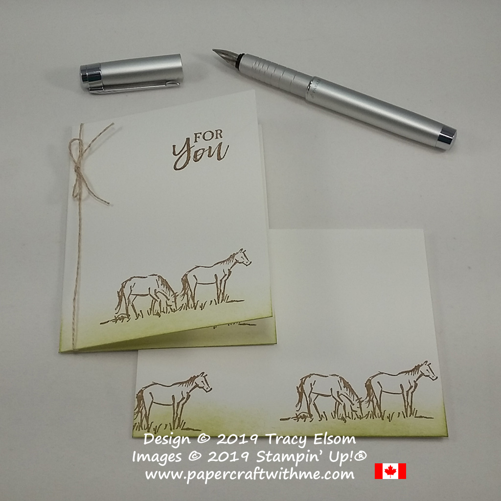 Simple small card and envelope with horse image from the Let It Ride Stamp Set from Stampin' Up!