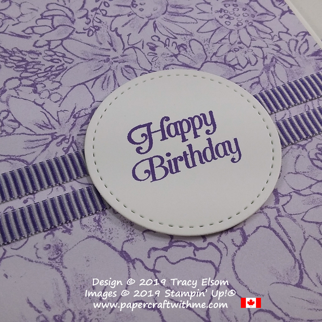 Close up of simple lilac birthday card created using the All That You Are Stamp Set from Stampin' Up! The Botanical Butterfly background paper is available free until March 31st with a qualifying order (while stocks last).