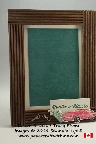 Simple wooden frame decorated with You're A Classic sentiment and images from the Geared Up Garage Stamp Set and coordinating Garage Gears Thinlits Dies from Stampin' Up!