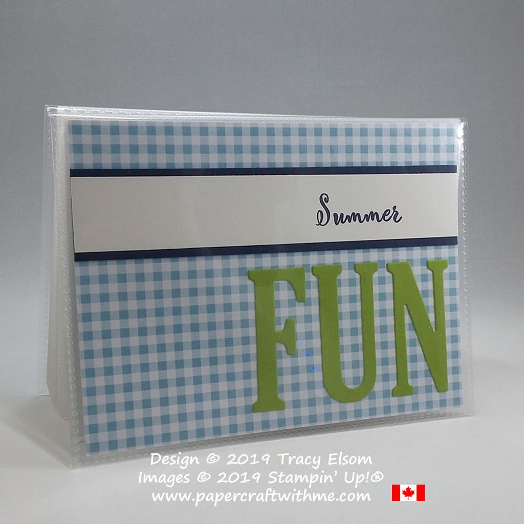 ocket photo album with simple summer fun cover created using the Make a Difference Stamp Set and Large Letters Framelits on a gingham background, all from Stampin' Up!