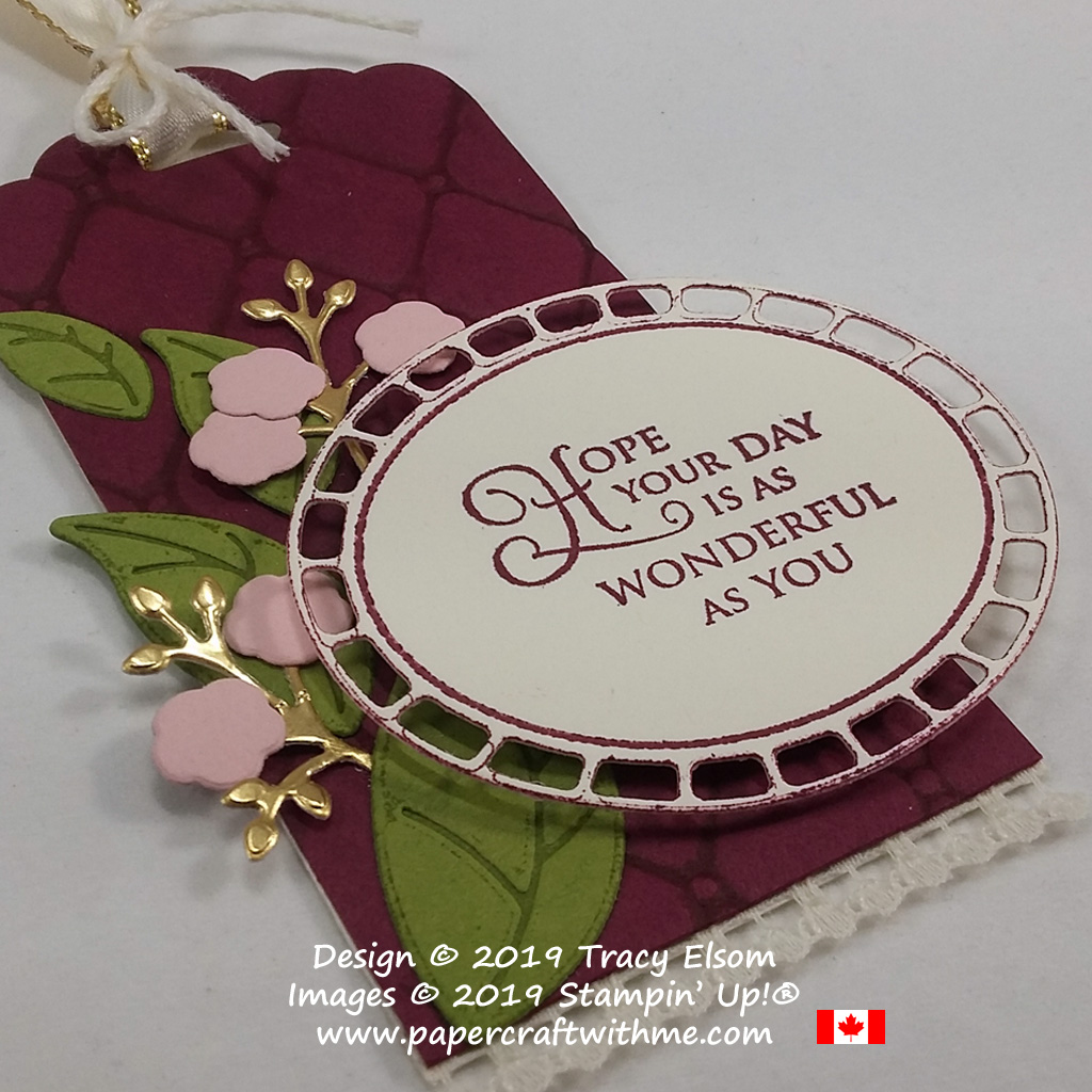Close up of large quilted gift tag created using the Tufted Dynamic Embossing Folder, embellished using the Wonderful Floral Framelits. The sentiment is from the Golden Afternoon Stamp Set, all from Stampin' Up!
