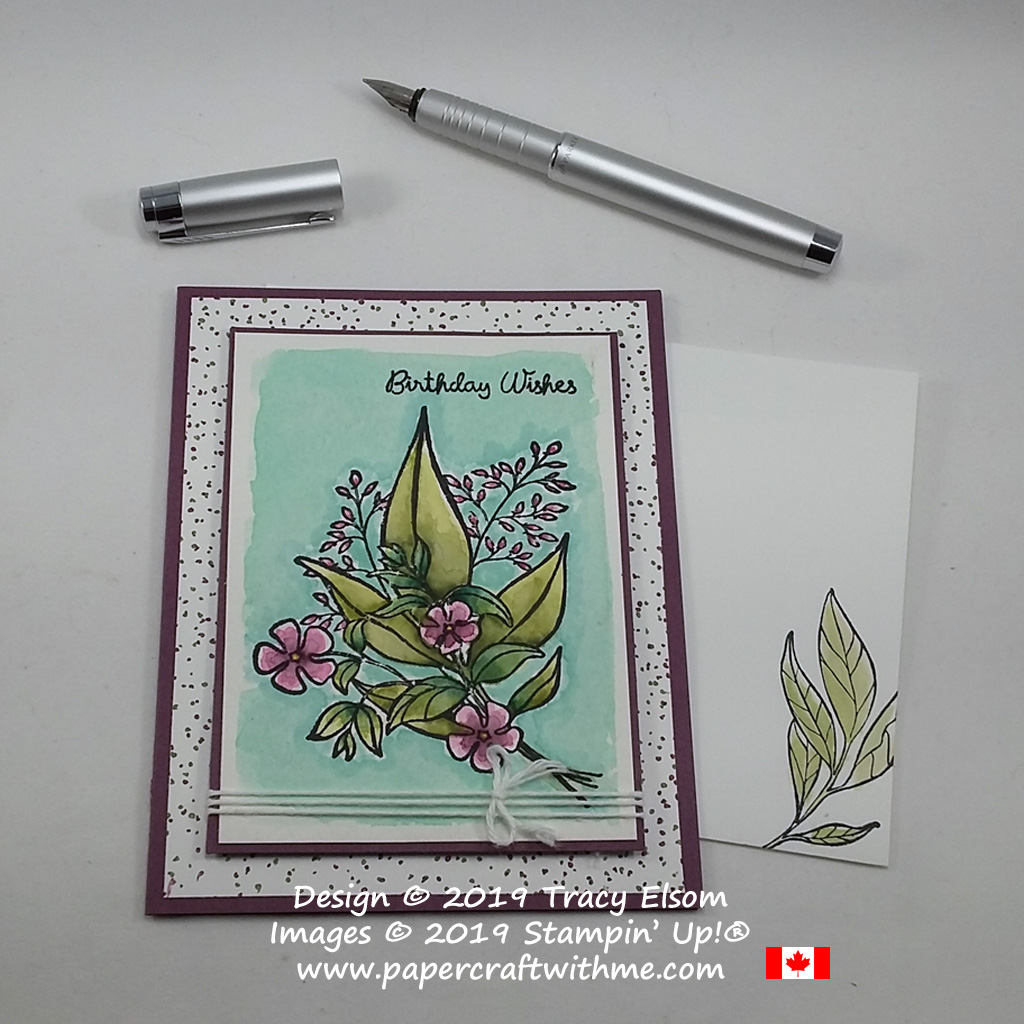 Birthday card created using Stampin' Write Markers and the Wonderful Romance Stamp Set from Stampin' Up! to create a watercoloured effect. The birthday wishes sentiment comes from the Varied Vases Stamp Set.