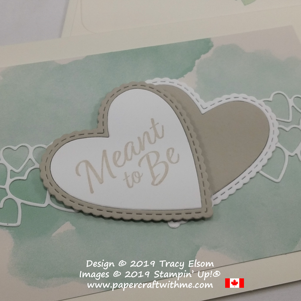 Close up of layered hearts on wedding card in non-traditional colours created using the Meant To Be Stamp Set and coordinating Be Mine Stitched Framelits from Stampin' Up!
