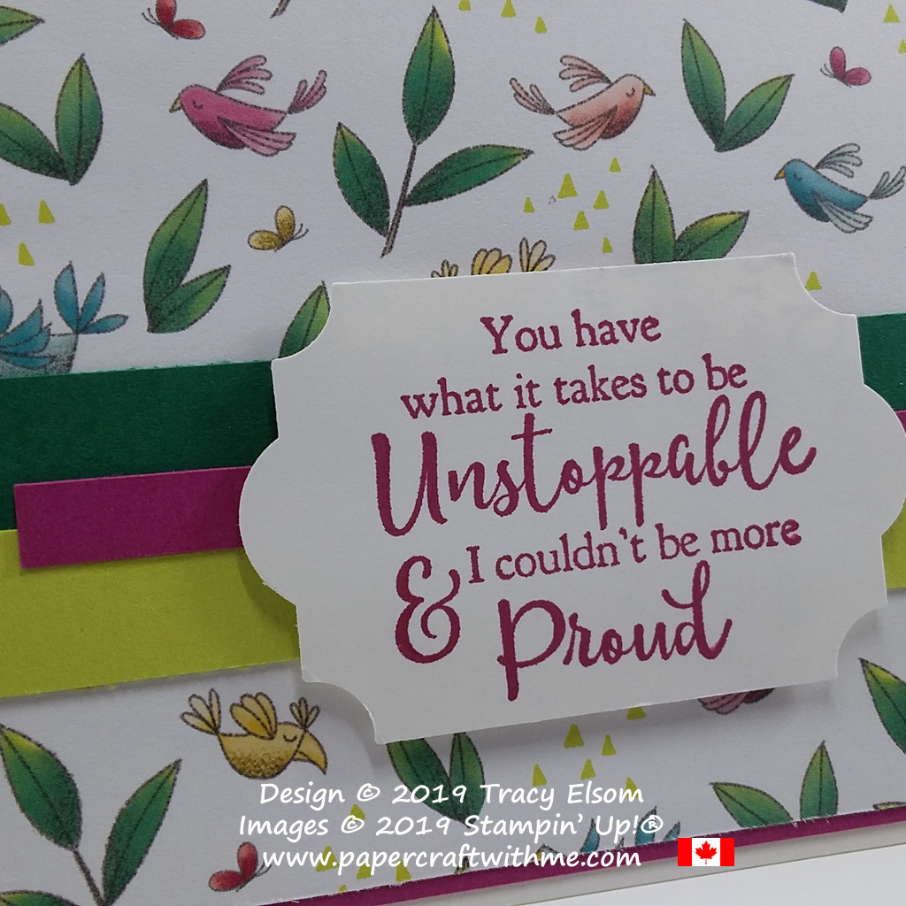 Close up of Unstoppable & Proud sentiment from the Strong & Beautiful Stamp Set from Stampin' Up!