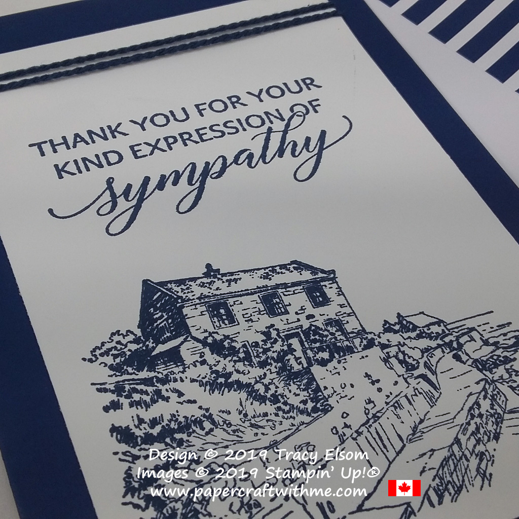 Close up of sympathy thank you card created using the Kindness & Compassion and By The Bay Stamp Sets from Stampin' Up!
