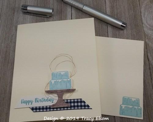 1734 Blue Birthday Cake Card