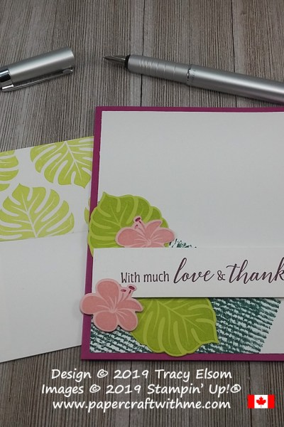 Tropical thanks card created with the retiring 2017-2019 InColors, using the Burlap and Tropical Chic Stamp Sets and the coordinating Tropical Thinlits Dies, all from Stampin' Up!