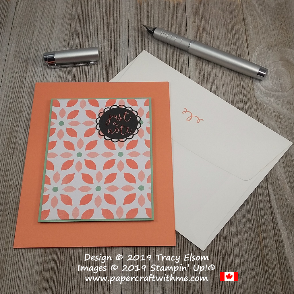 Simple Just a Note card created using the Delightfully Detailed Memories & More Card Pack from Stampin' Up!