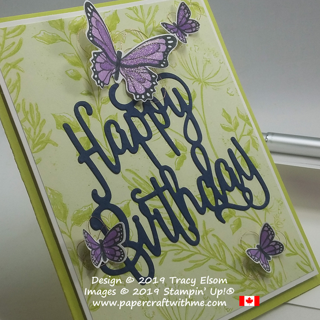 Close up of card created using the Butterfly Gala Stamp Set and coordinating Butterfly Duet Punch, with large Happy Birthday Thinlits Die, all from Stampin' Up!