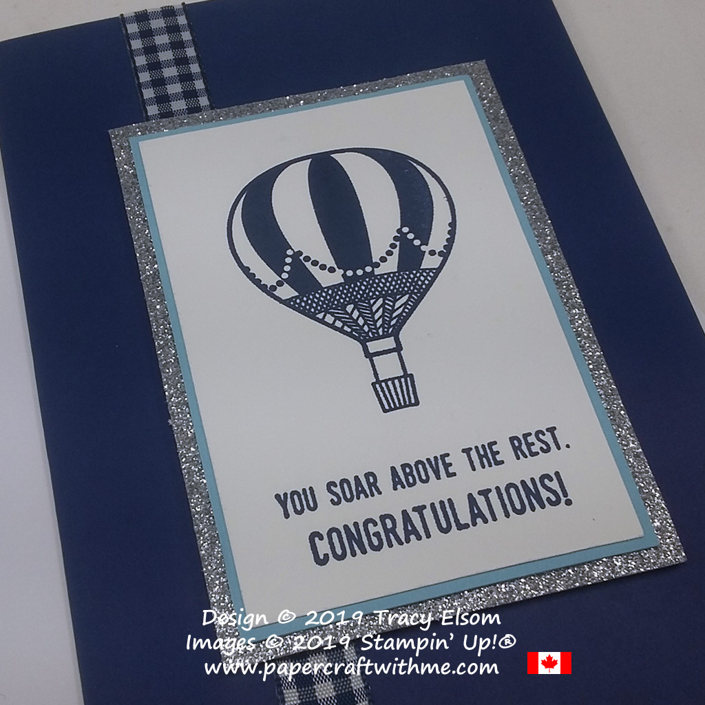 Close up of congratulations card with 'you soar above the rest' sentiment and hot air balloon image from the Lift Me Up Stamp Set from Stampin' Up!