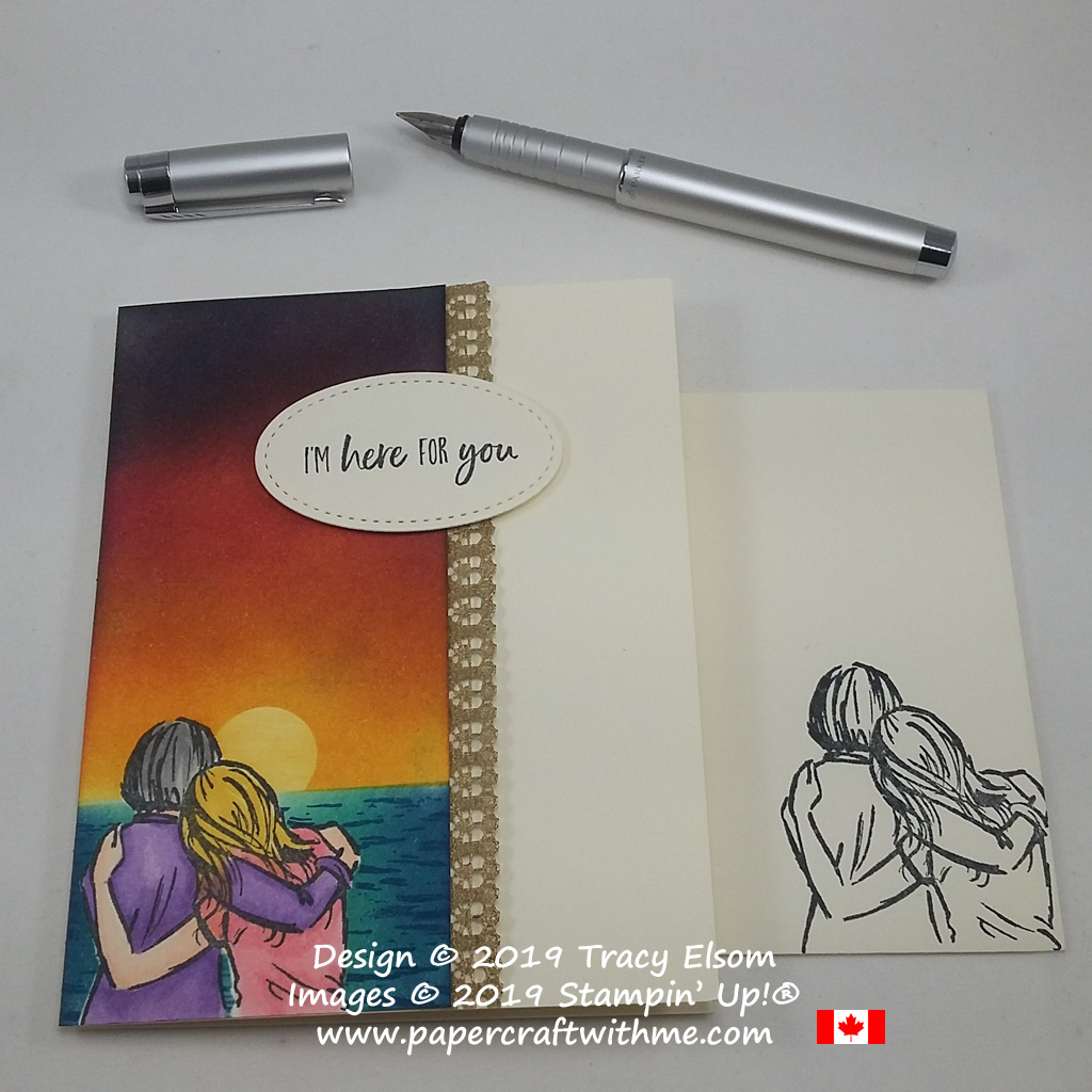 I'm Here For You card featuring an ocean sunset scene created using the Artfully Aware and High Tide Stamp Sets, coloured using inked sponges and Stampin' Blends alcohol markers.