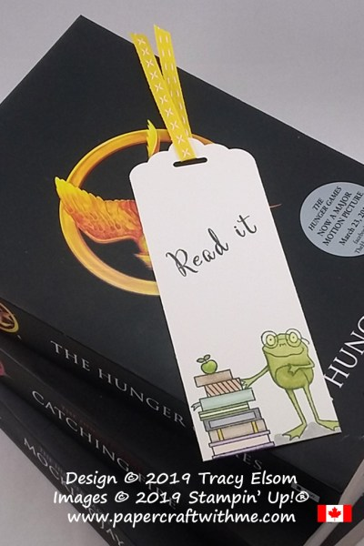 Read It bookmark created using a frog from the So Hoppy Together (free) stamp set and books from the Hand Delivered (Host) stamp set from Stampin' Up!