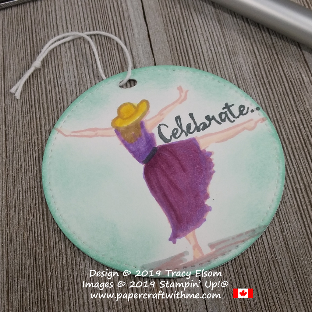 Celebrate tag created using the dancer image from the Beautiful You Stamp Set and coloured using Stampin' Blends alcohol markers from Stampin' Up!
