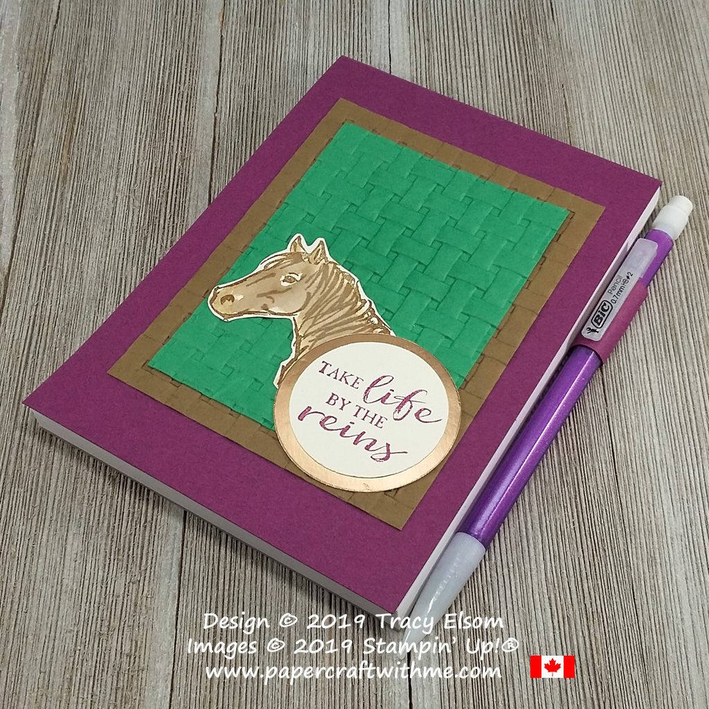 Simple notepad cover created using the Basket Weave Dynamic Textured Impressions Embossing Folder, with horse image and Take Life By The Reins sentiment from the Let It Ride Stamp Set, All from Stampin' Up!