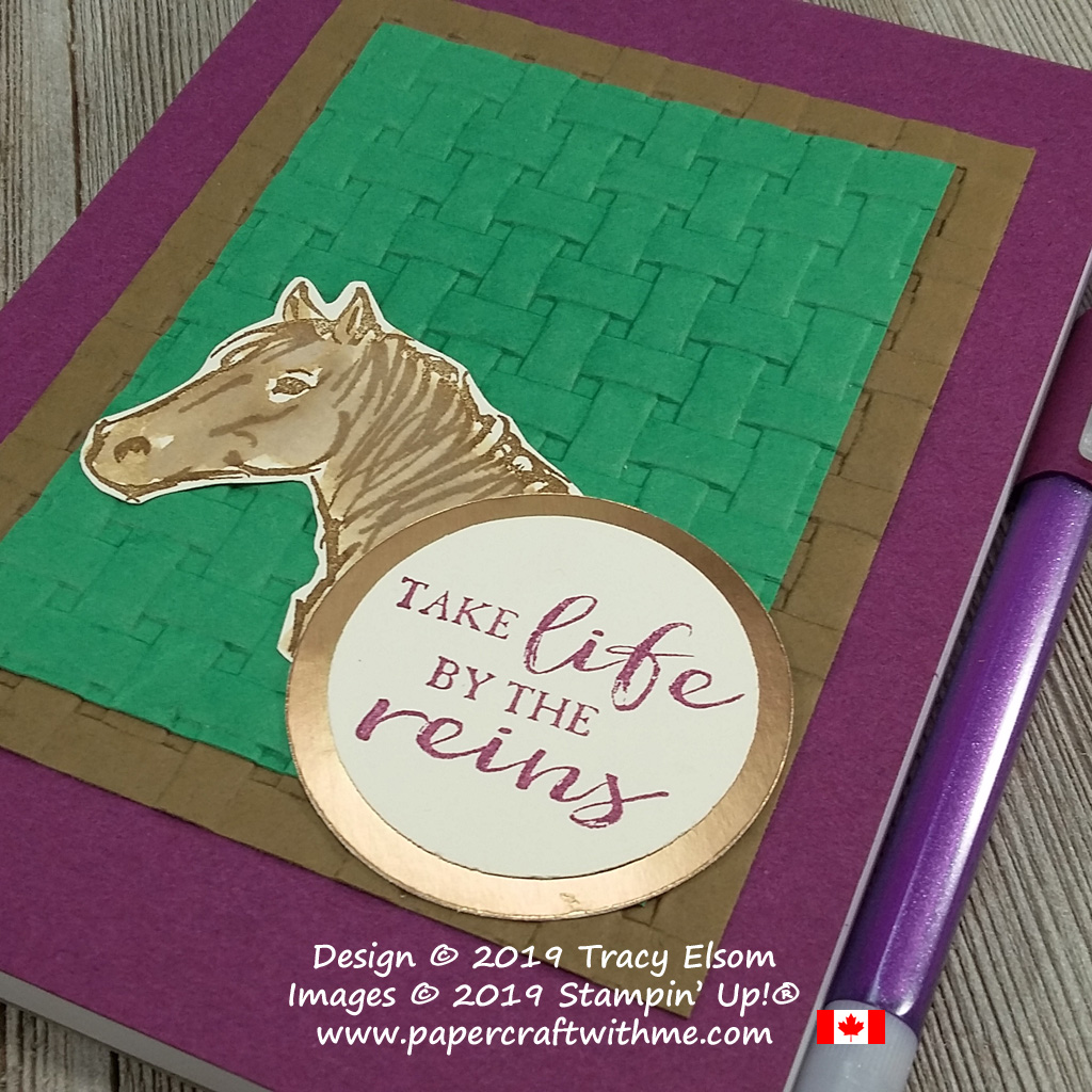 Close up of simple notepad cover created using the Basket Weave Dynamic Textured Impressions Embossing Folder, with horse image and Take Life By The Reins sentiment from the Let It Ride Stamp Set, All from Stampin' Up!