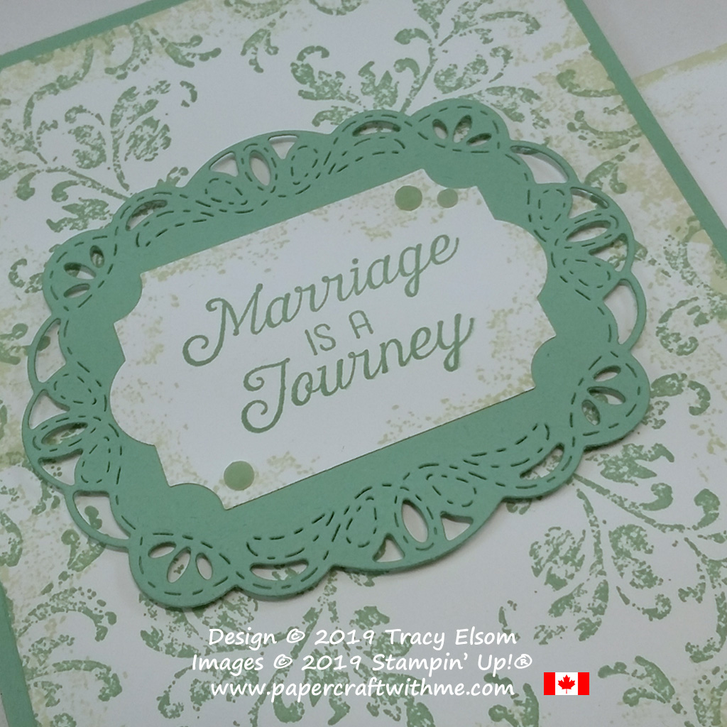 Close up of vintage-style wedding card created using the Flourishing Phrases and Timeless Textures Stamp Sets from Stampin' Up!