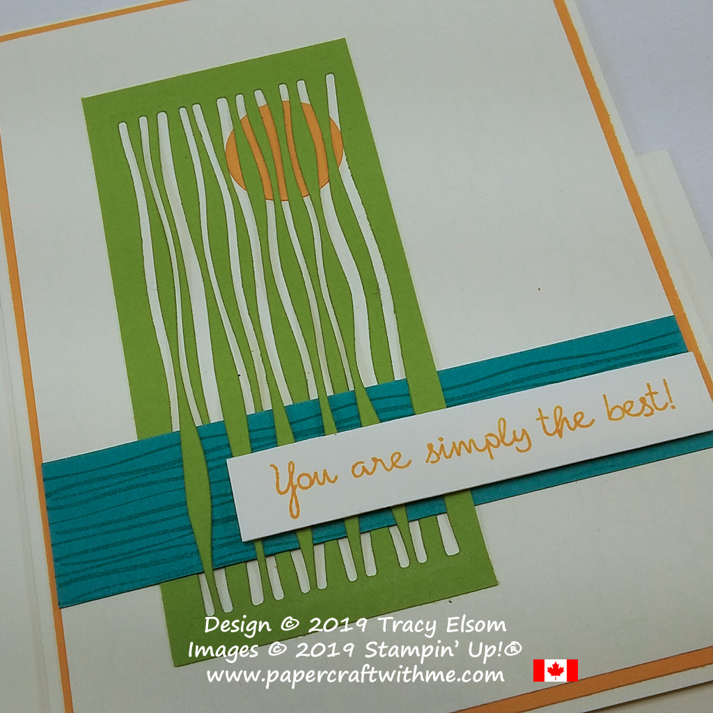 Close up of abstract scene of water, trees and sun on this card created using the Lilypad Lake Stamp Set and coordinating Lakeside Framelits from Stampin' Up!