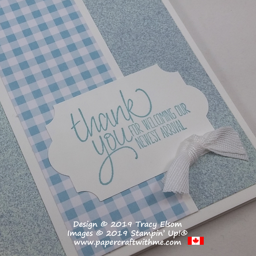 Close up of baby thank you card created using the All Things Thanks Stamp Set from Stampin' Up!