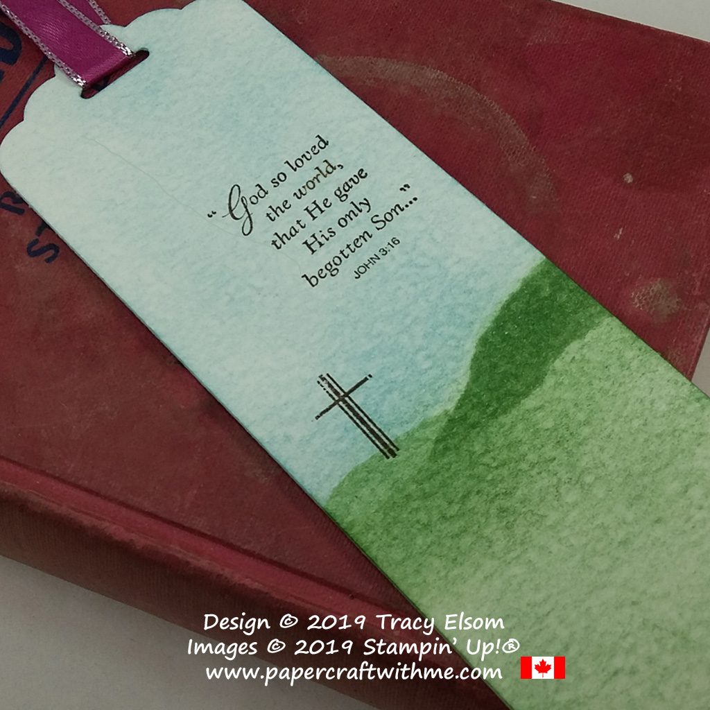 Close up of simple bookmark for Easter Sunday with John 3:16 quote created using the His Grace and Inspired Events Stamp Sets From Stampin' Up!