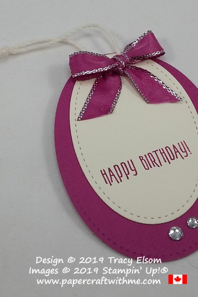 Large oval happy birthday gift tag in Berry Burst and Very Vanilla created using a sentiment from the Picture Perfect Birthday Stamp Set all products from Stampin' Up!