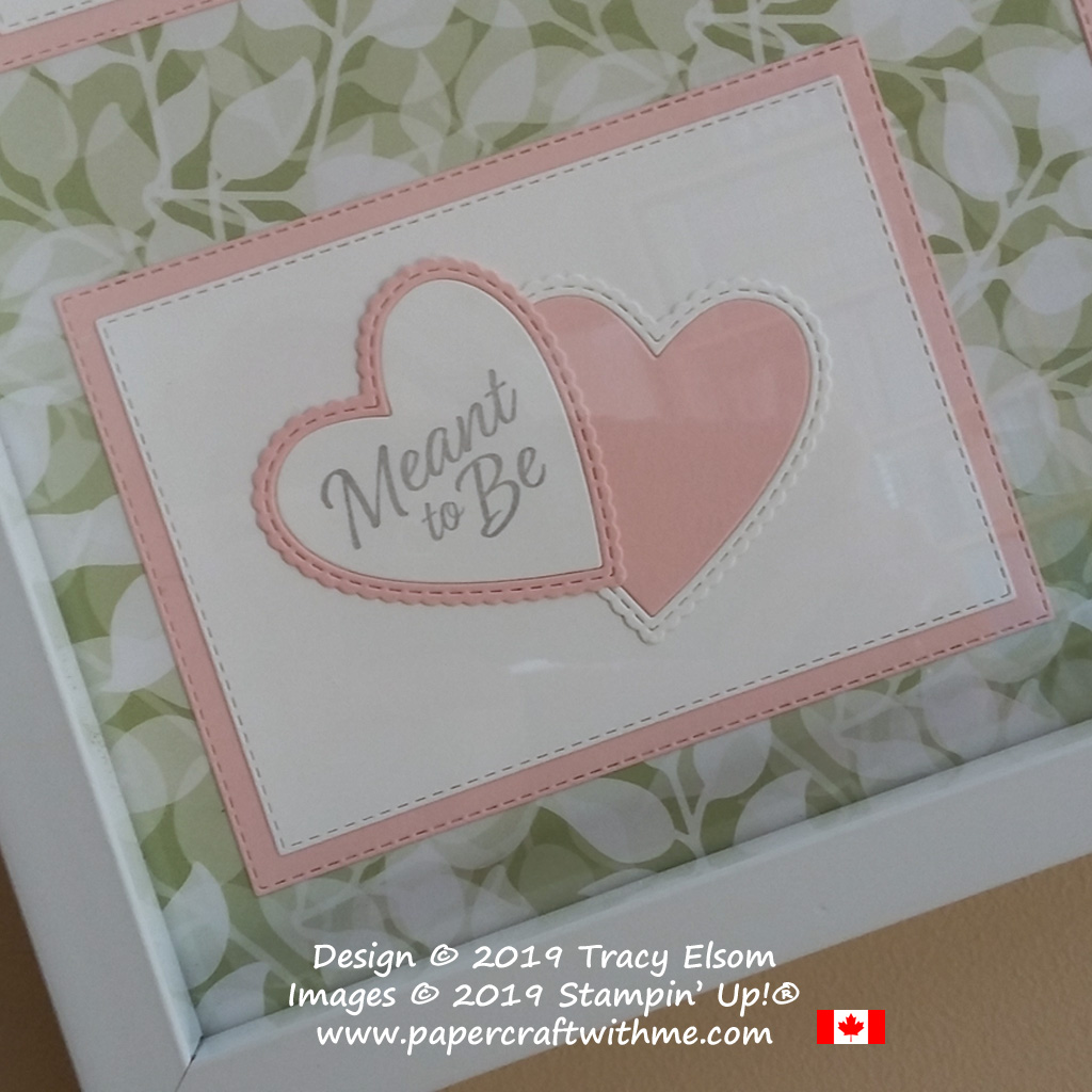 Bottom left corner of sampler frame with 'Meant to Be' sentiment and die cut hearts created using the Meant to Be Stamp Set and coordinating Be Mine Dies from Stampin' Up!