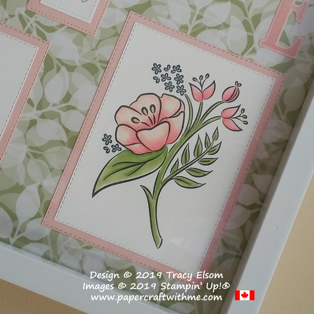 Bottom right corner of sampler frame with floral image from the All That You Are Stamp Set coloured using Stampin' Blends from Stampin' Up!