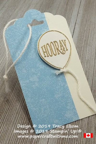 Close up of gift tag with embossed 'Hooray' balloon created using the Happy Birthday Gorgeous Stamp Set from Stampin' Up!