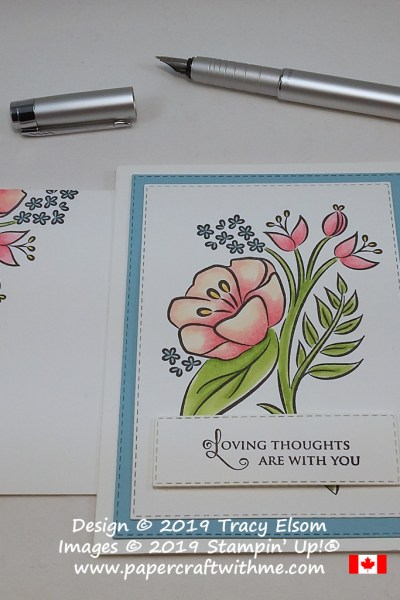 Floral card created using the All That You Are Stamp Set (coloured using Stampin' Blends) with Loving Thoughts sentiment from the Golden Afternoon Stamp Set. All from Stampin' Up!