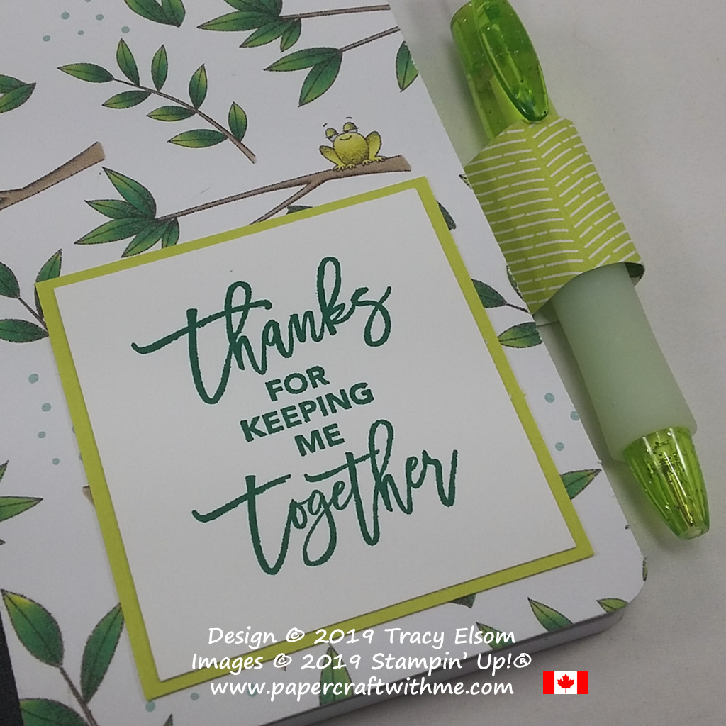 Close up of mini notebook covered with Animal Expedition Designer Series Paper featuring a cute frog, and a sentiment from the Love You To Pieces Stamp Set.