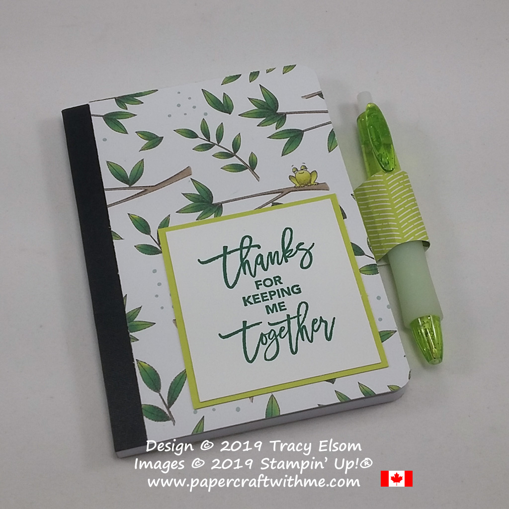Mini notebook covered with Animal Expedition Designer Series Paper and a 'thanks for keeping me together' sentiment from the Love You To Pieces Stamp Set.