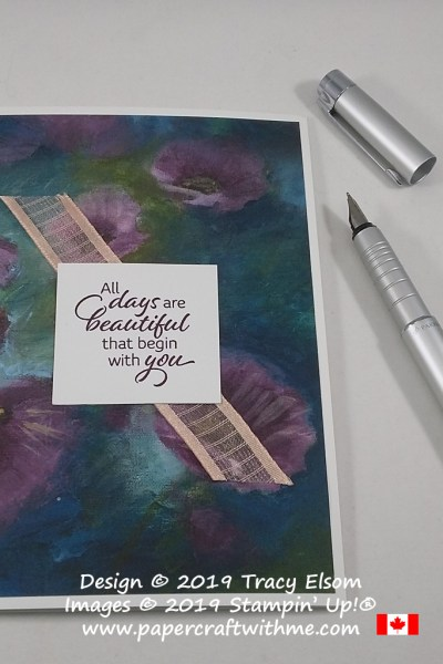 Card with 'All days are beautiful that begin with you' created using the Floral Essence Stamp Set and Perennial Essence DSP from Stampin' Up!