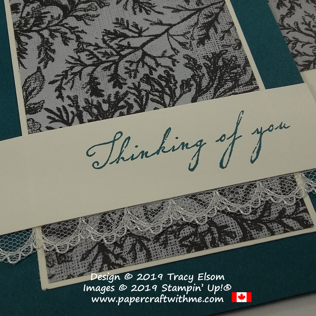 Close up of thinking of you card created using the Woven Heirlooms Stamp Set from Stampin' Up!