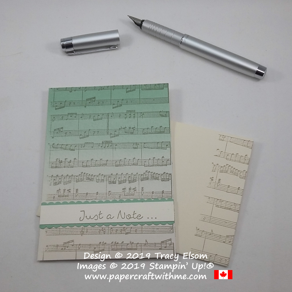Music themed note card created using the Sheet Music and Better Together Stamp Sets from Stampin' Up!