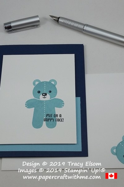 Baby card with teddy and 'put on a happy face' sentiment from the Cookie Cutter Christmas Stamp Set by Stampin' Up!
