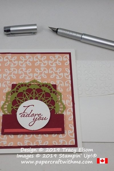 Lace inspired card created using the Garden Trellis Embossing Folder and 'I Adore You' sentiment from the Graceful Garden Stamp Set by Stampin' Up!