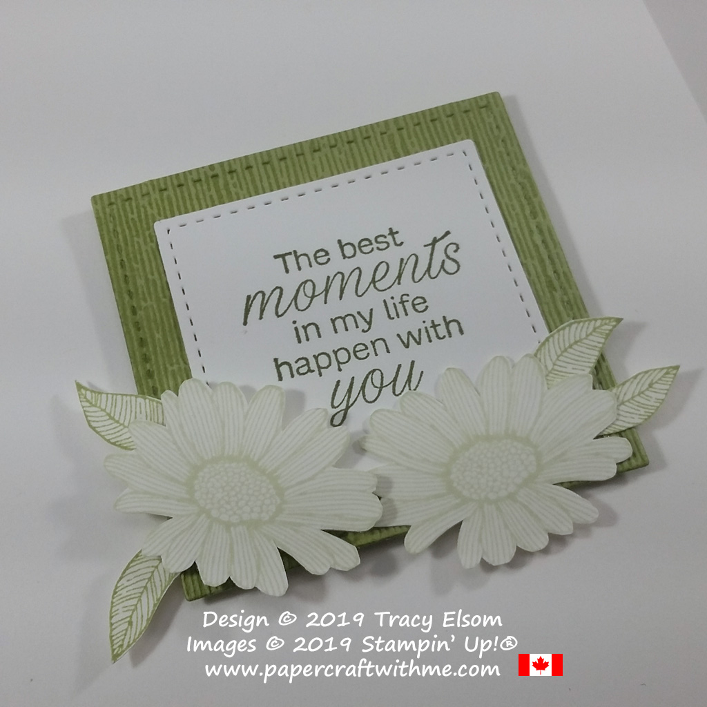 Close up of 'best moments' card created using the Daisy Lane Stamp Set and Subtle Embossing Folder from Stampin' Up!