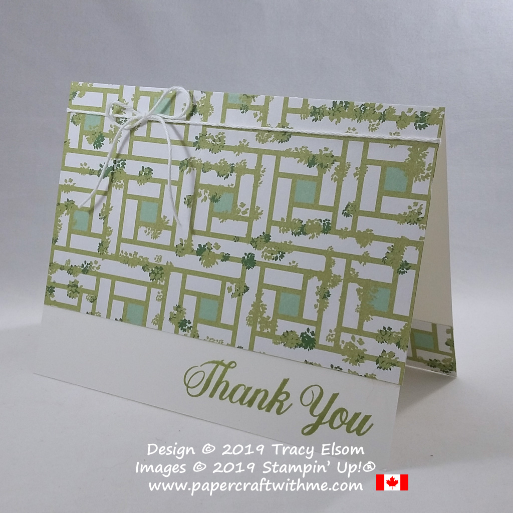 Side view of thank you card created using the Daisy Delight Stamp Set and Garden Lane Designer Series Paper from Stampin' Up! #simplestamping