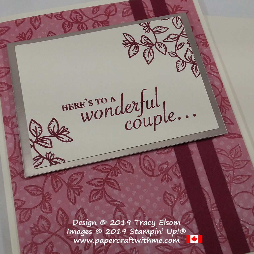 Close up of 'wonderful couple' wedding / anniversary card created using the Verdant Garden Stamp Set from Stampin' Up!
