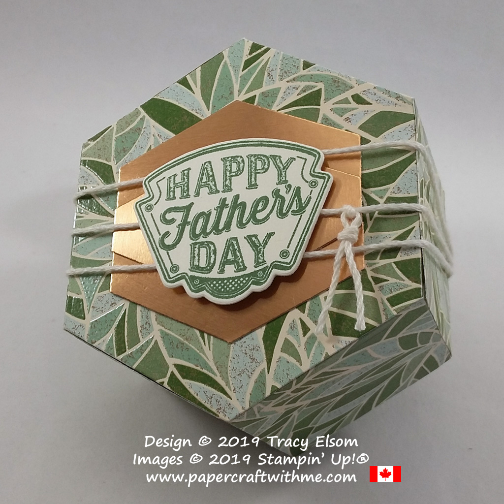 Close up of hexagonal Father's Day gift box created using the Window Box Thinlits, Geared Up Garage Stamp Set and Mosaic Mood Specialty Paper from Stampin' Up!