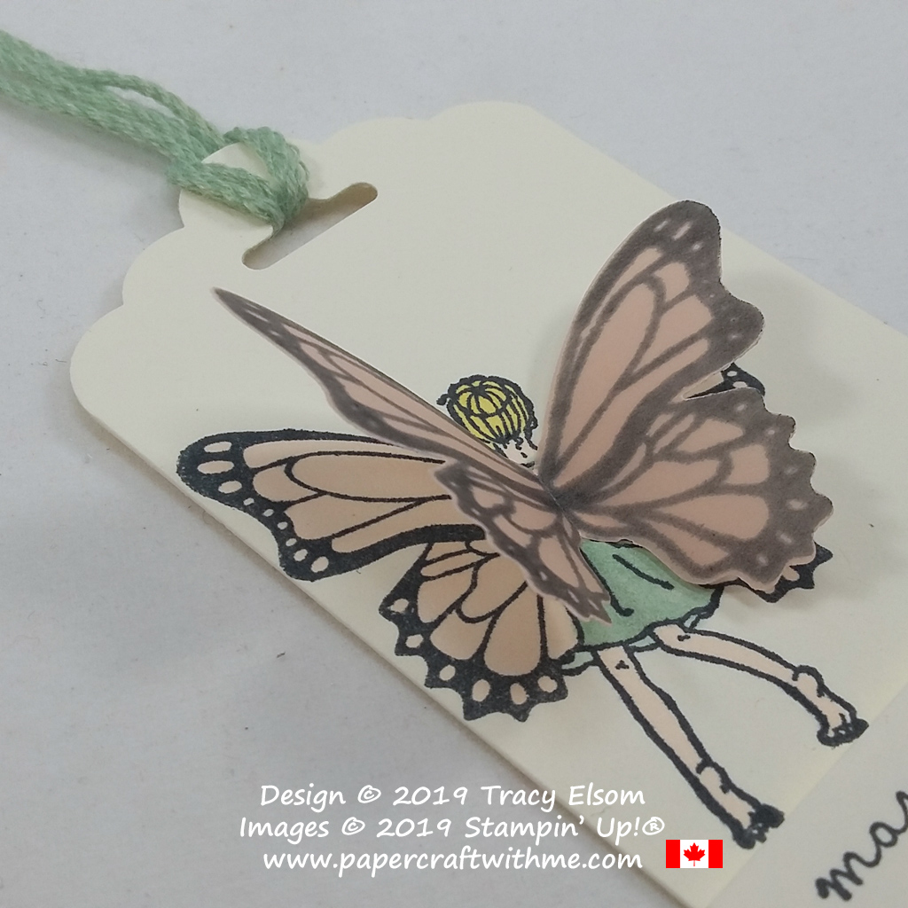 Close up of gift tag created using the Fairy Celebration and Butterfly Gala Stamp Sets from Stampin' Up!