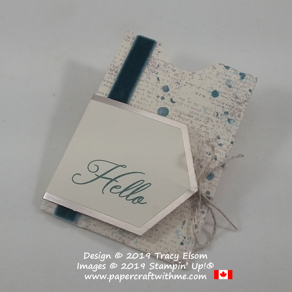 Masculine gift card holder with hello sentiment (alternate project for the May 2019 Paper Pumpkin Kit - Hugs From Shelli) from Stampin' Up!