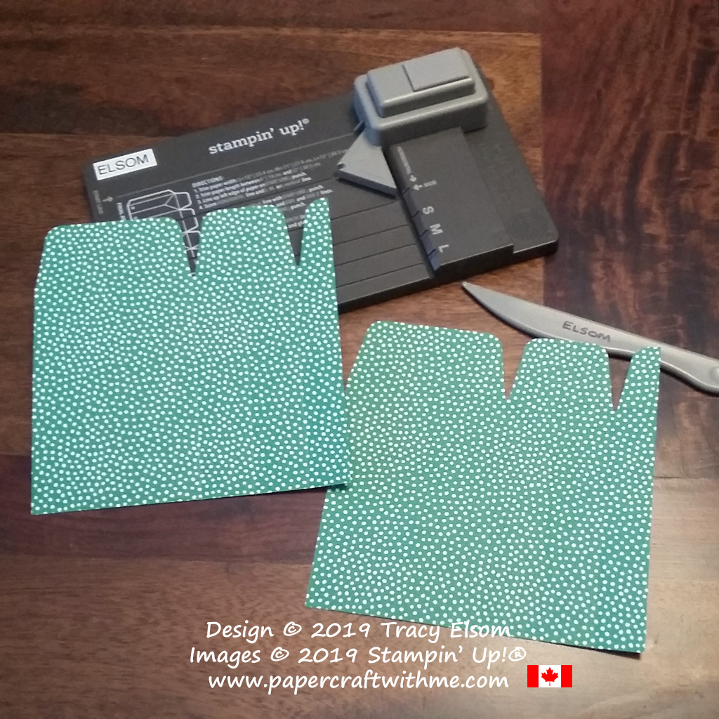 """Making a gift bag using the Gift Bag Punch Board and 6"""" x 6"""" patterned paper."""