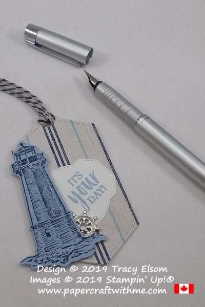 Masculine lighthouse gift tag using the Sailing Home Stamp Set and other products from the 2019/2020 Annual Catalogue from Stampin' Up!