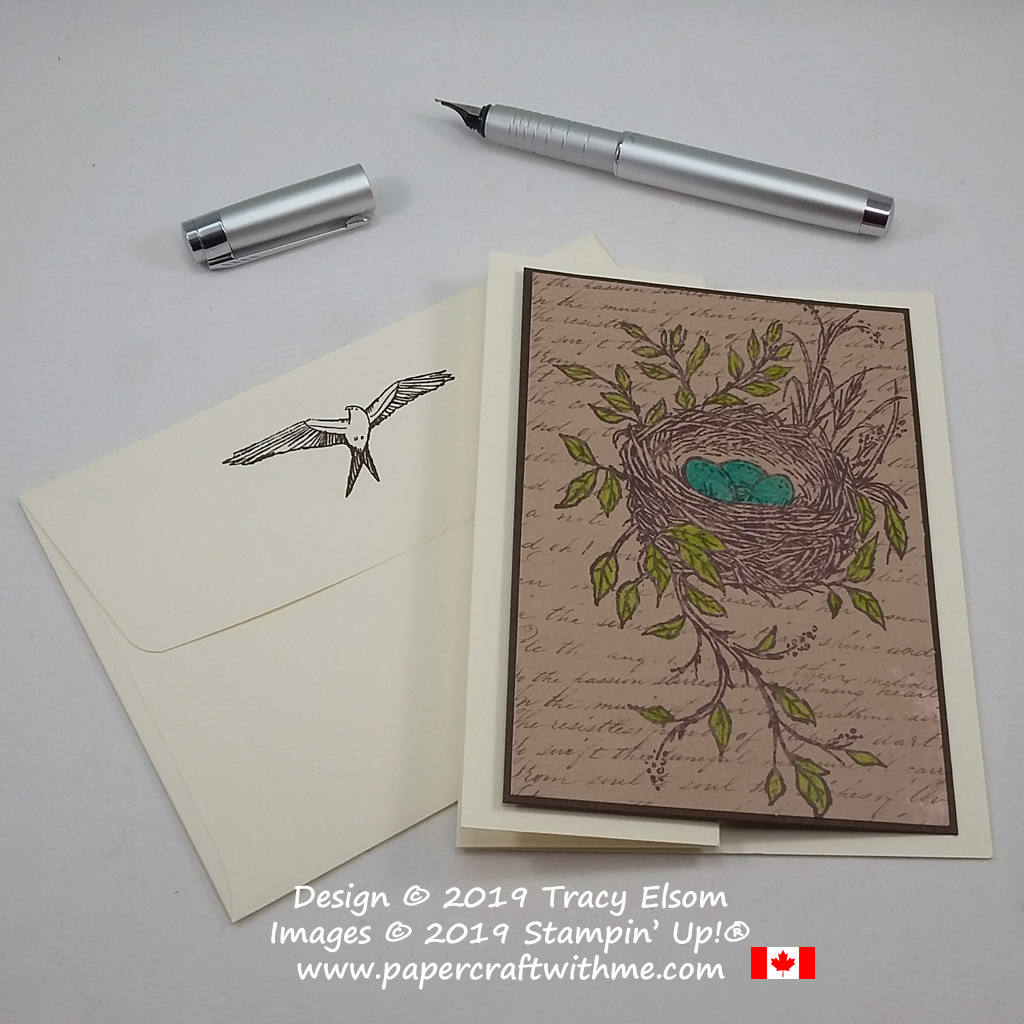 Fun-fold thank you card with nest image (alternate project for the May 2019 Paper Pumpkin Kit - Hugs From Shelli) from Stampin' Up!