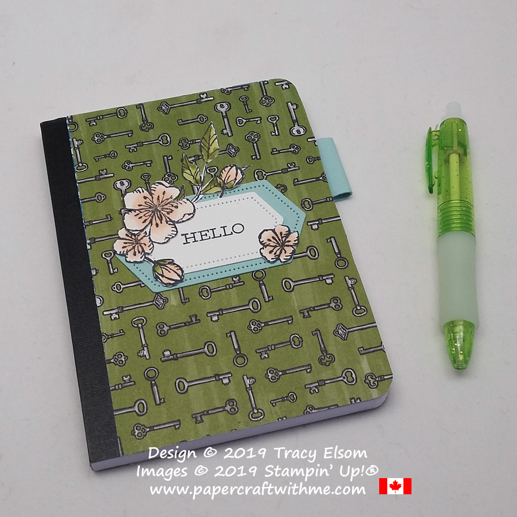 Small hello notebook decorated with images from the Free As A Bird Stamp Set, and layers cut using the Stitched Nested Labels Dies, all from Stampin' Up!