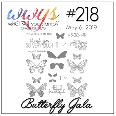 Logo for what Will You Stamp? challenge WWYS218 - Butterfly-Gala (May 6 to 11, 2019)