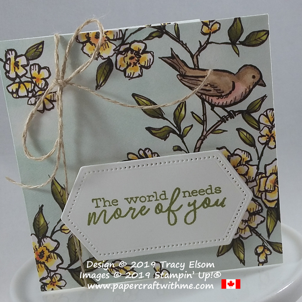 Close up of 3x3 card created using products from the Bird Ballad suite from Stampin' Up!