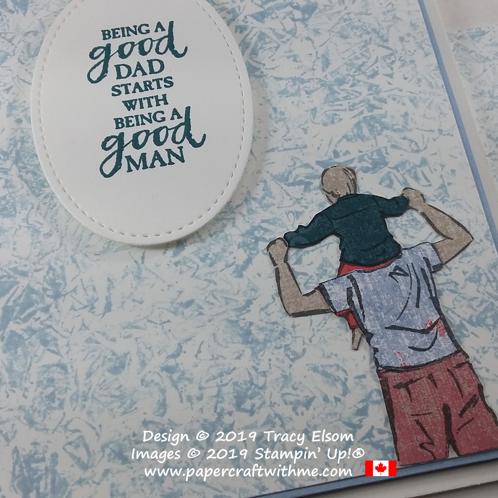 Close up of Father's Day card with paper pieced image created using A Good Man Stamp Set and Woven Threads DSP from Stampin' Up!